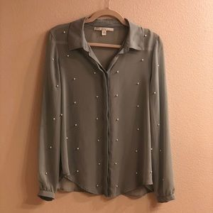 Sage sheer button down blouse